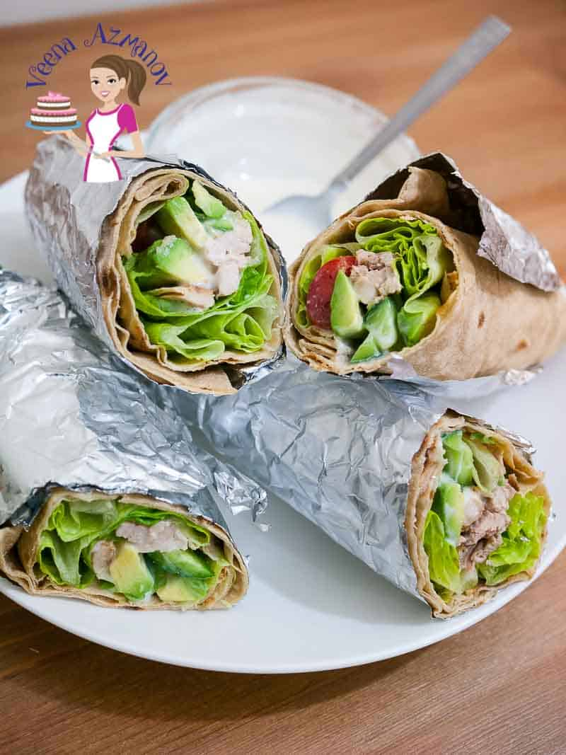 These healthy chicken wraps are simple, super easy and fun to make. The creamy avocado, salad with yogurt and mustard dressing is so super delicious I bet you will be making it more often then you plan