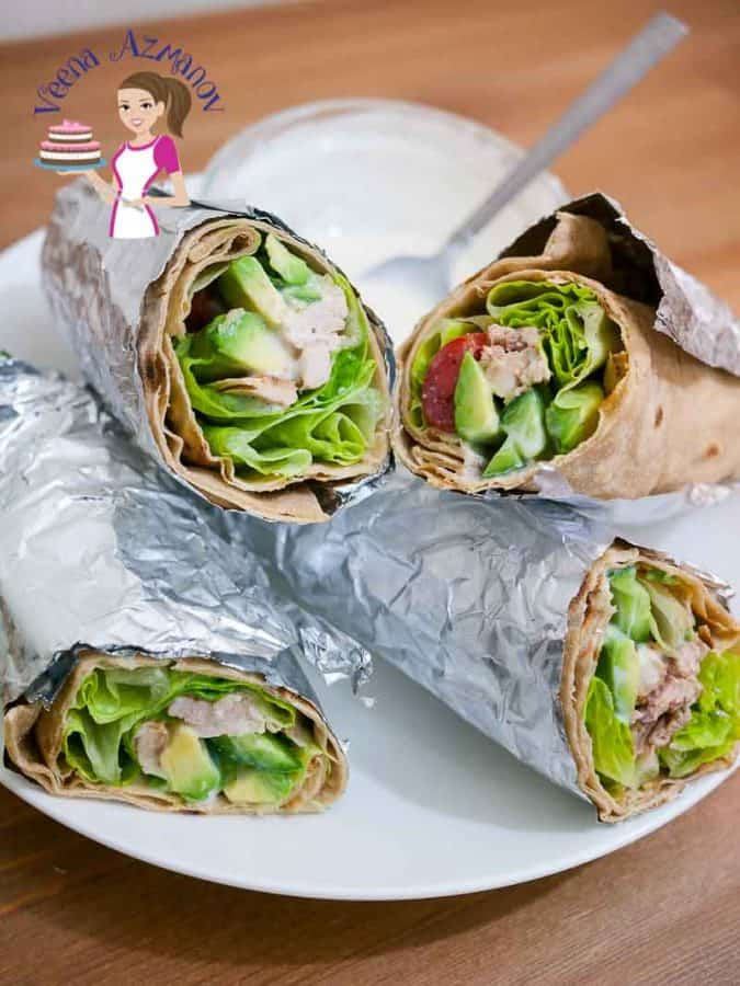 Healthy chicken wrap on a plate.
