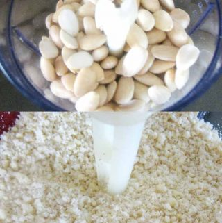 Making almond meal.