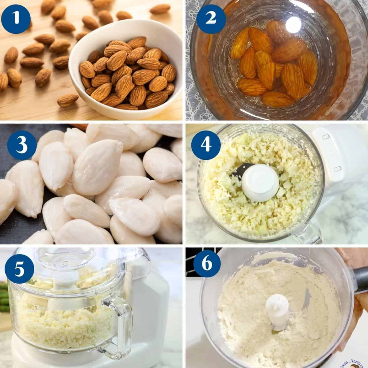 Progress pictures collage making almond meal.