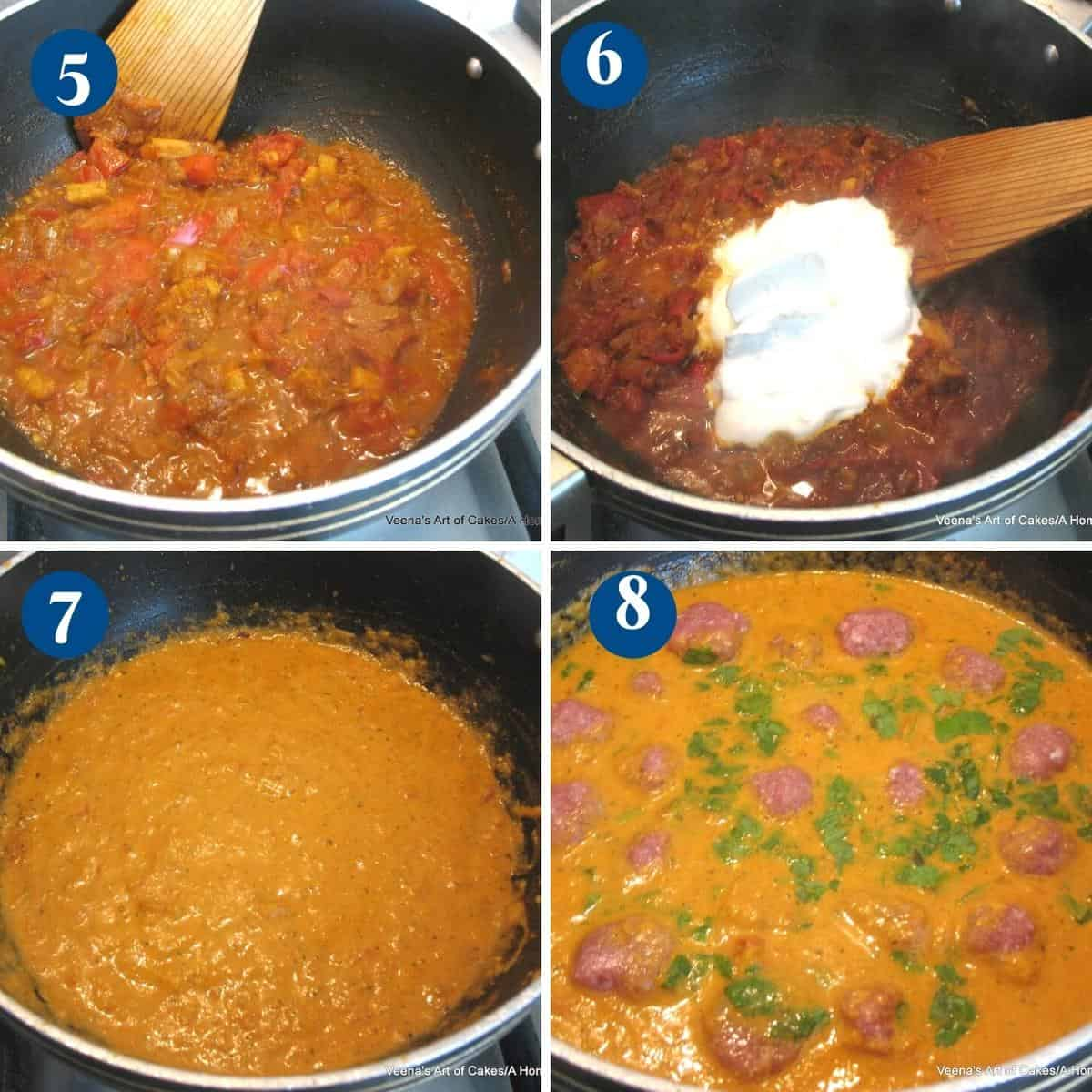 Progress pictures collage for meatball curry.