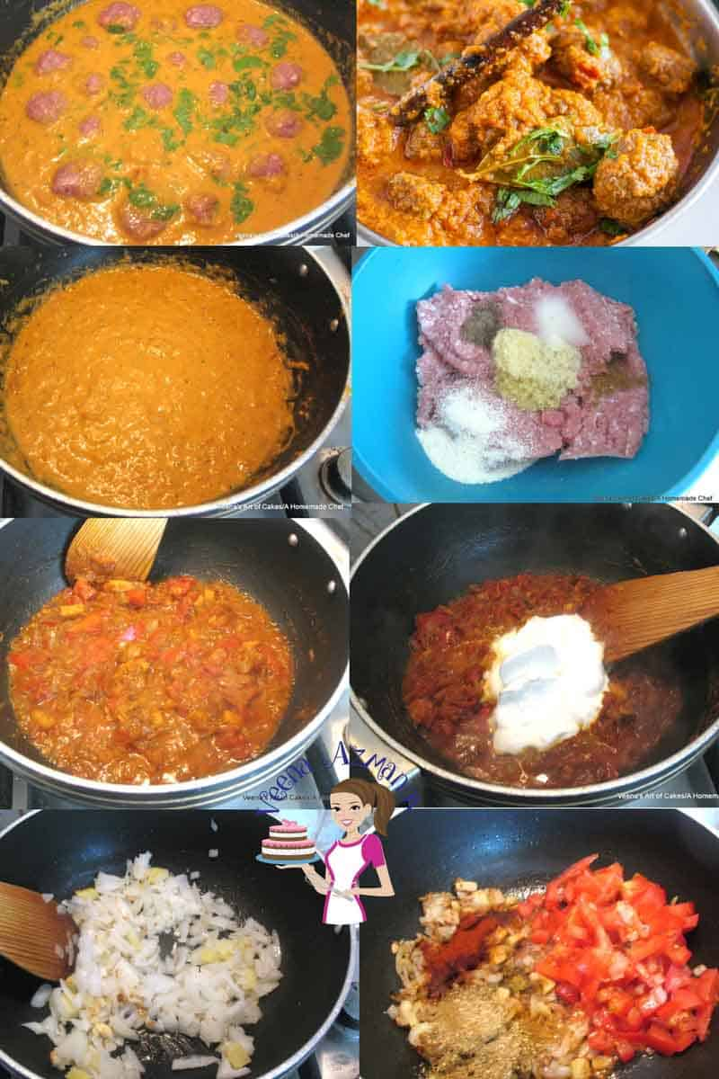 A collage of progress photos of making Indian meatball curry.