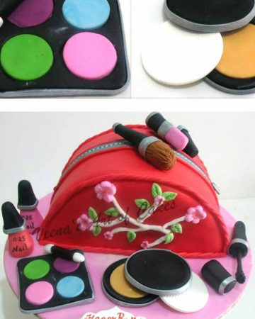 A cake decorated to look like a makeup bag.