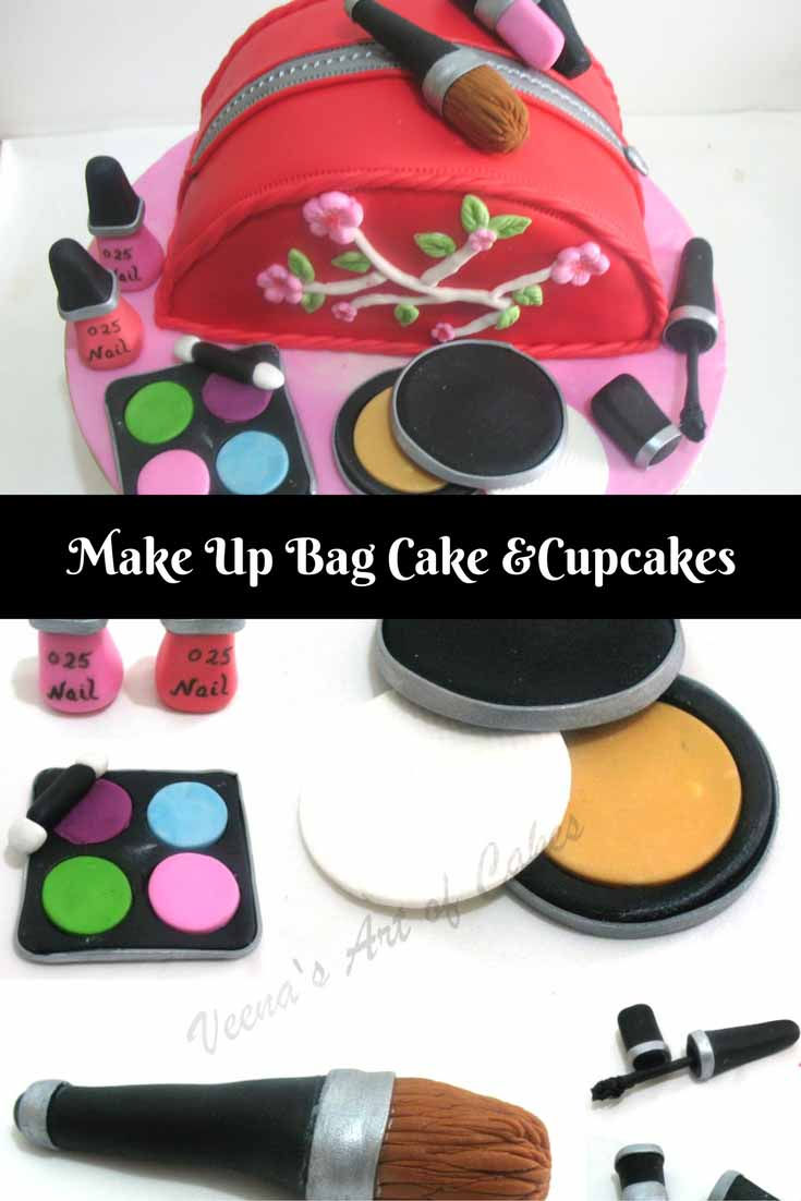 A make up bag Cake or cupcakes is a great birthday, celebration or just get well gift for any lady to bring a big smile. Simple easy to make and a little attention to details is all it takes.