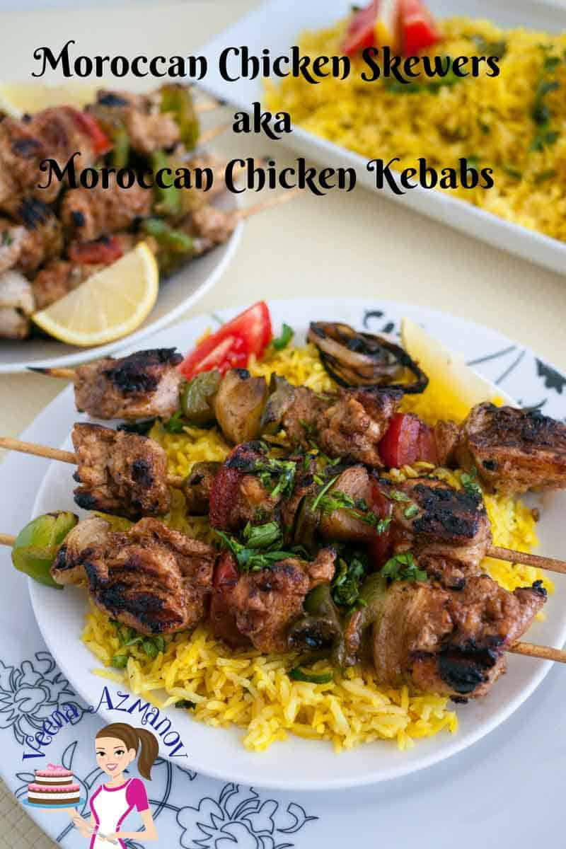 An image optimized for social share for these step by step tutorial on how to make Moroccan Chicken Kebob aka Moroccan Chicken Skewer, perfect for summer BBQ