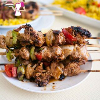 An image optimized for social share for these step by step tutorial on how to make Moroccan Chicken Kebabs aka Moroccan Chicken Skewers, perfect for summer BBQ