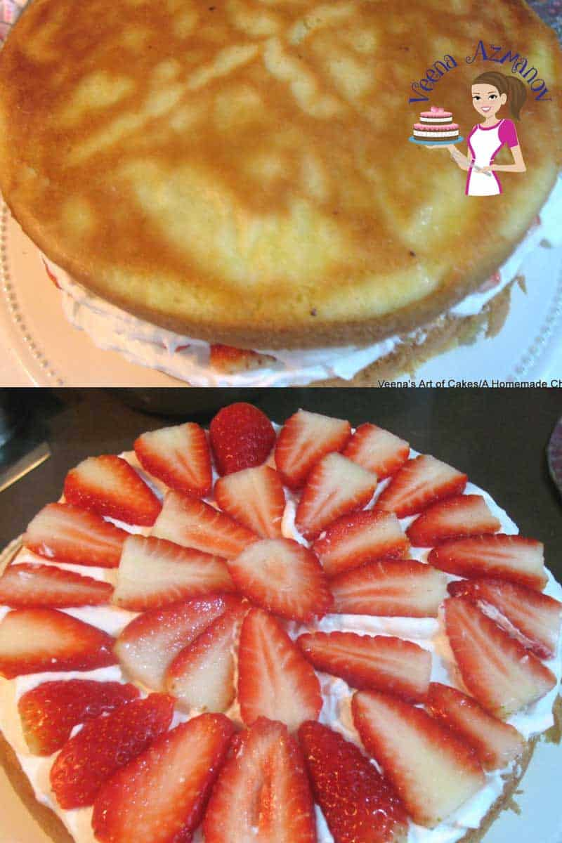 Rustic yet delicately light strawberry cream cake made with Genoise light sponge layers, lost of fresh chopped strawberries and  the luxury of whipped cream.