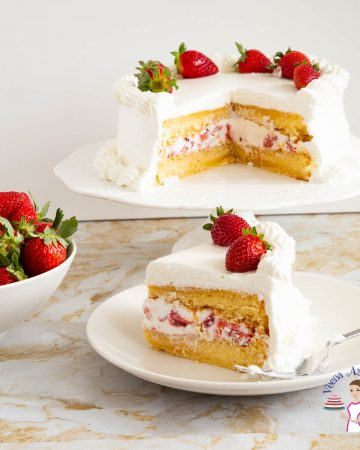 A cake frosted with whipped cream