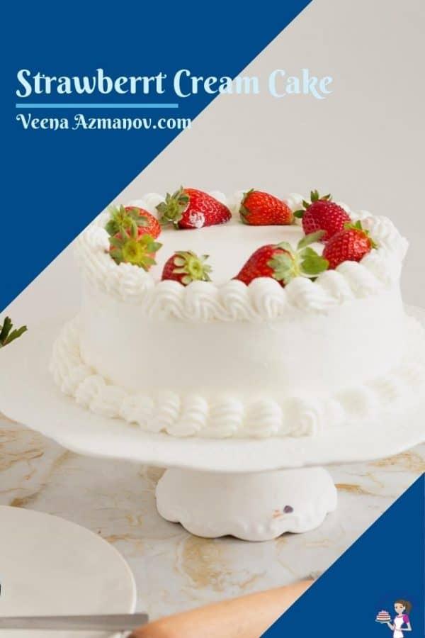 Pinterest image for strawberry cake