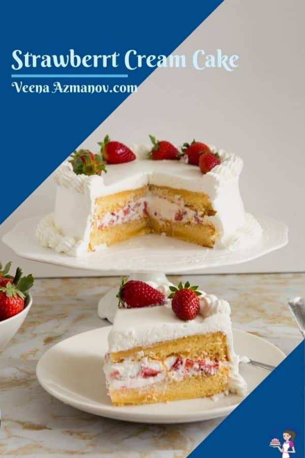A Pinterest image for strawberry cake