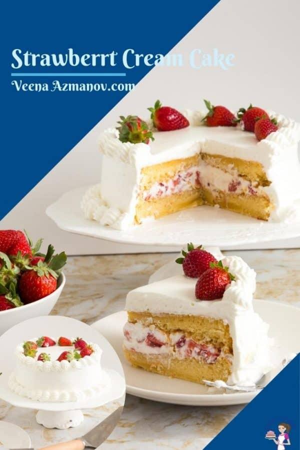 Pinterest image for strawberry cream cake