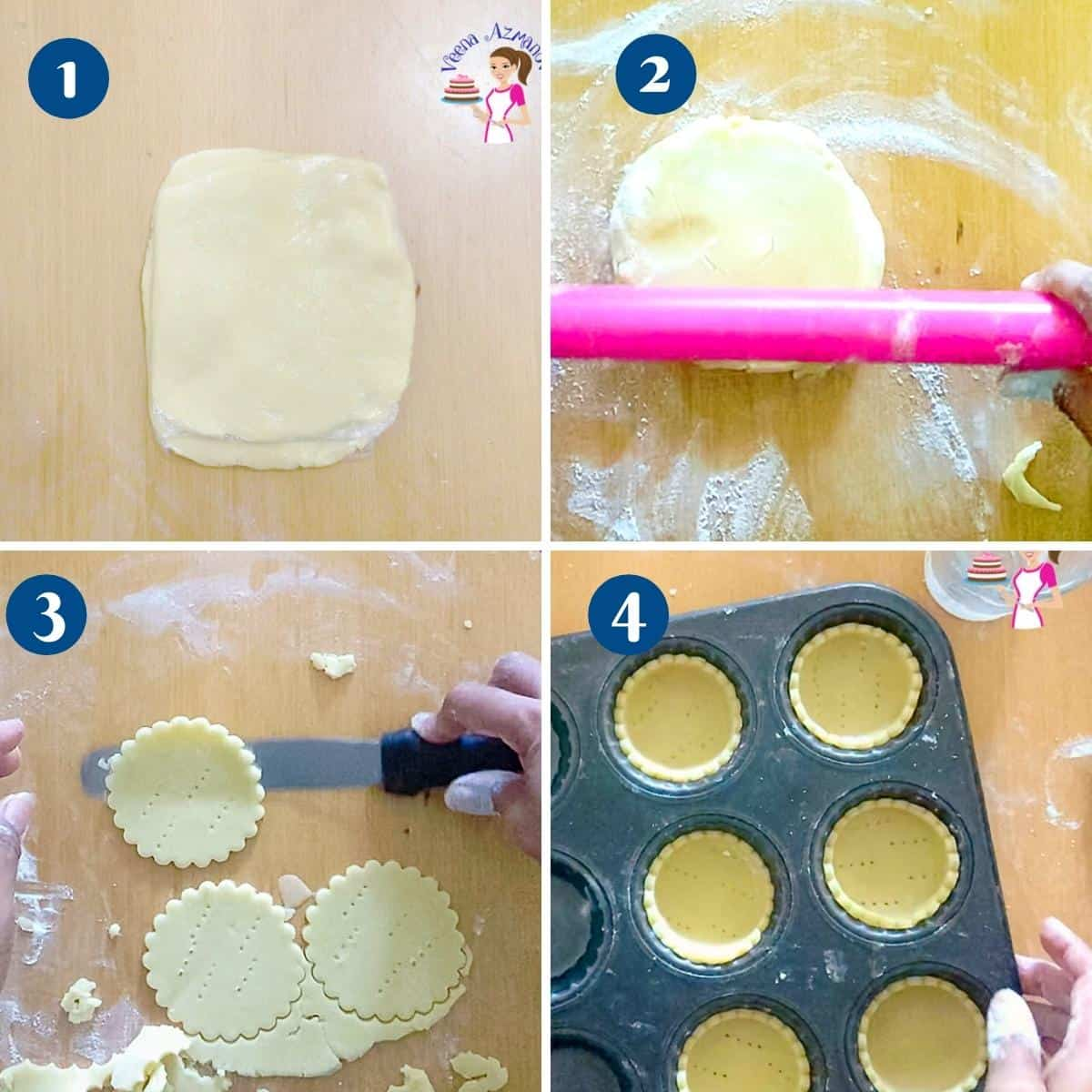 Progress pictures - Method 1 for making pastry shells mini tarts.