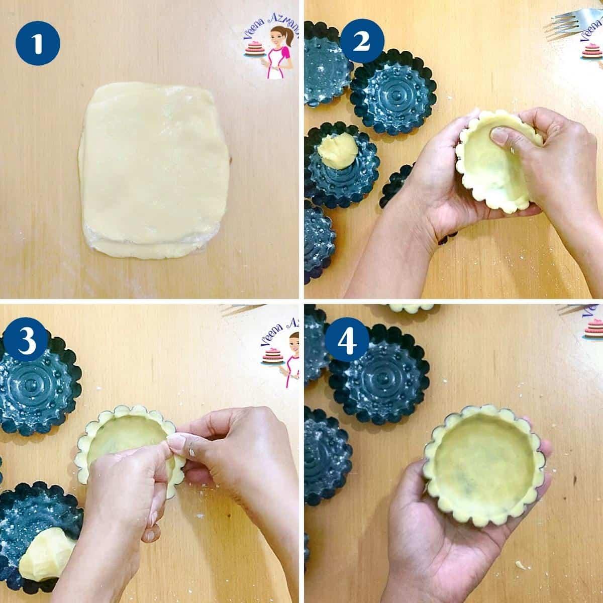 Progress pictures - Method 3 for making mini tart shells.