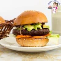A hamburger on a plate.