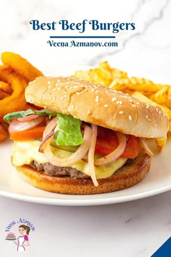 Pinterest image for beef burgers.