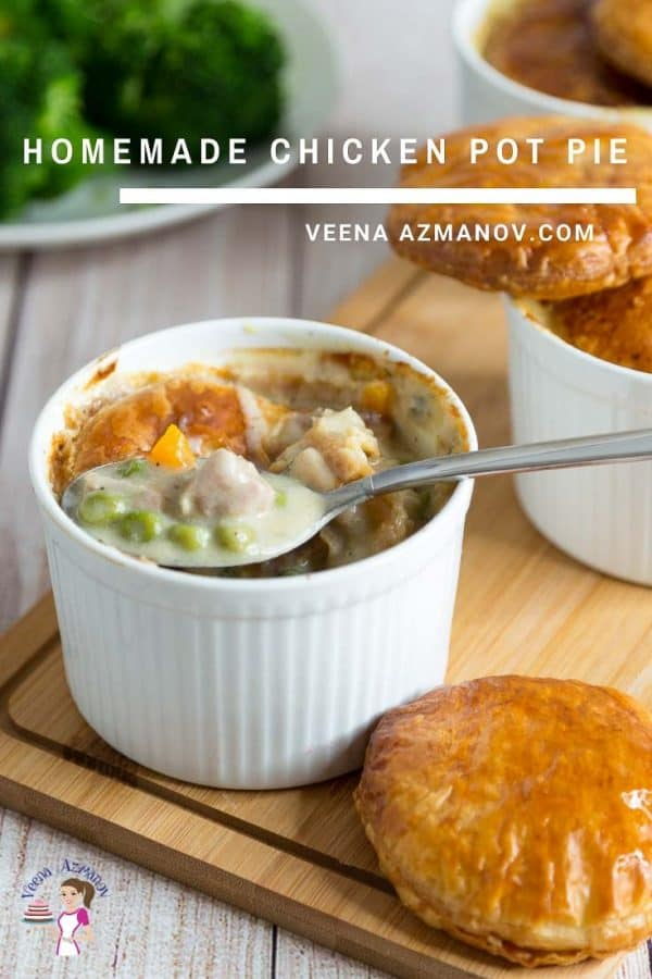 A bowl of chicken pot pie.