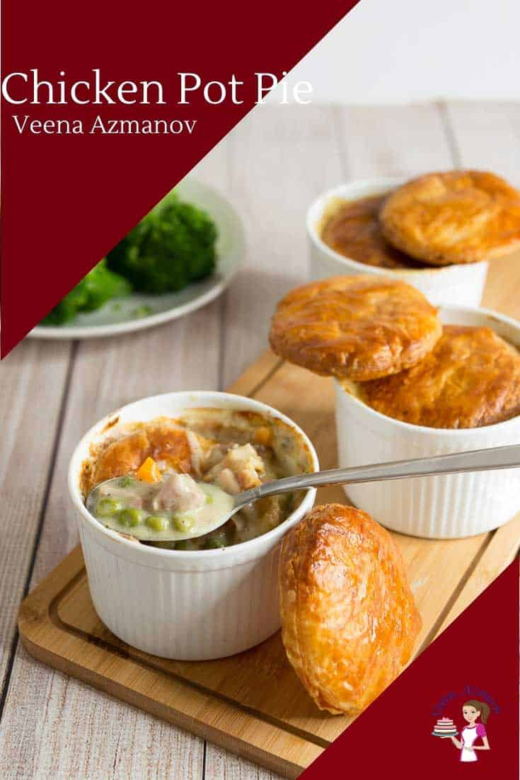 Nothing says comfort food like a bowl of warm chicken pot pie for dinner in winter. This recipe uses fresh chicken and ready to use puff pastry. Chicken with a mix of vegetables, cooked in a creamy delicious soup bubbling under a baked flaky and buttery pastry. Store-bought puff pastry makes this dish easier as well as more comforting. #chickenpotpie #chicken #soup #chickensoup #winter #chickenpie #chickenpotpies #minipies via @Veenaazmanov