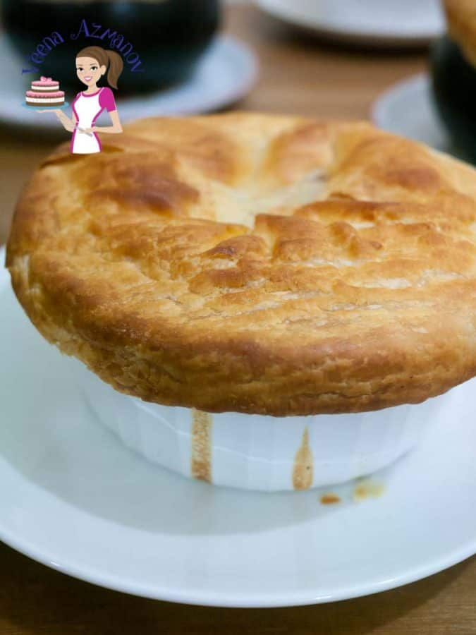 Nothing says comfort food like a bowl of warm chicken pot pie for dinner in winter! This one is so simple and easy you will be making it more often. Simple flavorful chicken with a mix of vegetables and a whole lot of chicken broth bubbling under a baked flaky pastry crust.