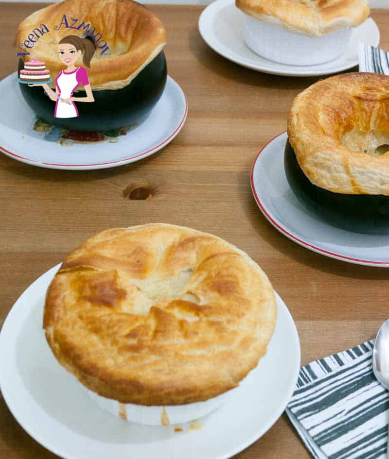 An image optimized for social media share for this quick and easy chicken pot pie recipe made using puff pastry for an easy semi-homemade recipe in 40 mins.