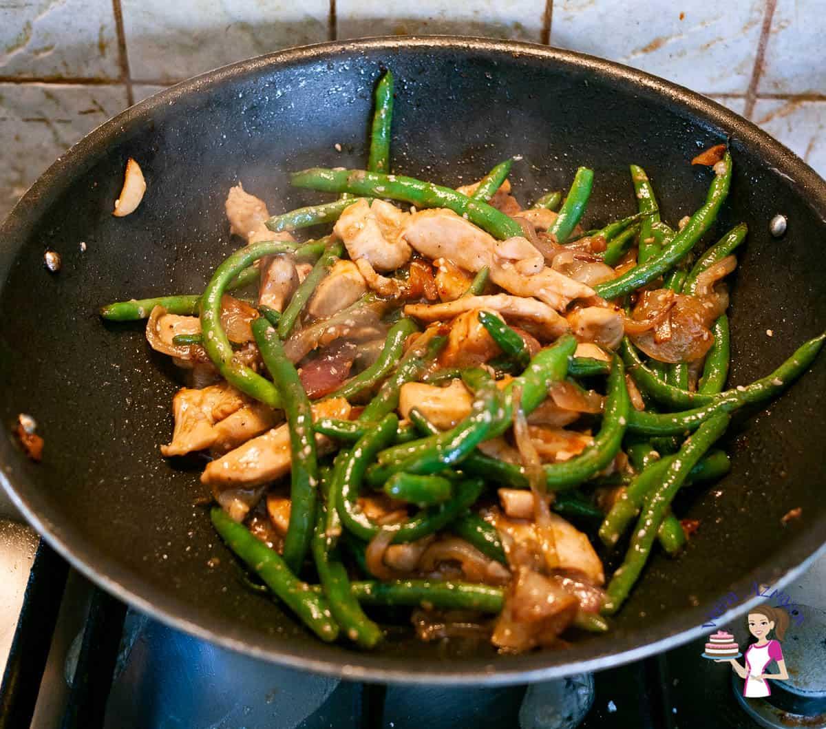 A wok with stir fry