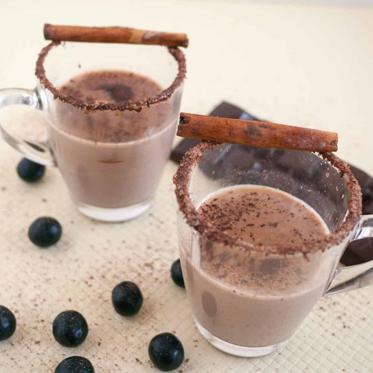 Tow glass cups with hot chocolate