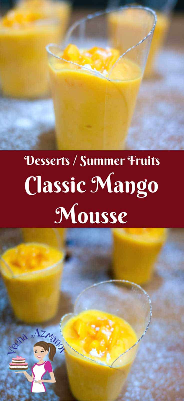 Summer brings in some exotic fruits like mangoes that are perfect for this classic mango mousse. Made with french vanilla cream as a base along with whipped cream and egg whites for that ultimate light and airy texture that just melts in the mouth. Via veenaazmanov.com