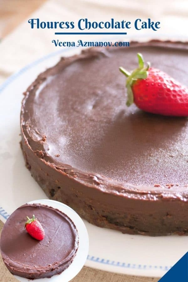 Pinterest image for flourless chocolate cake.