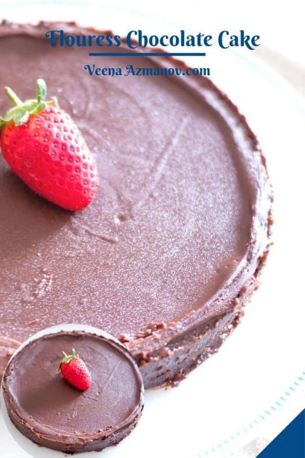 Pinterest image for chocolate cake flourless.