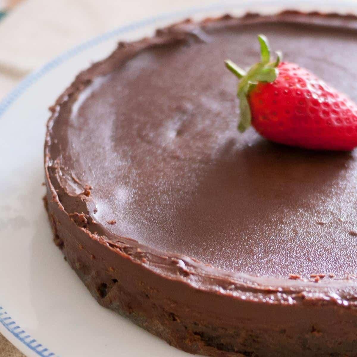 Chocolate cake on a plate.