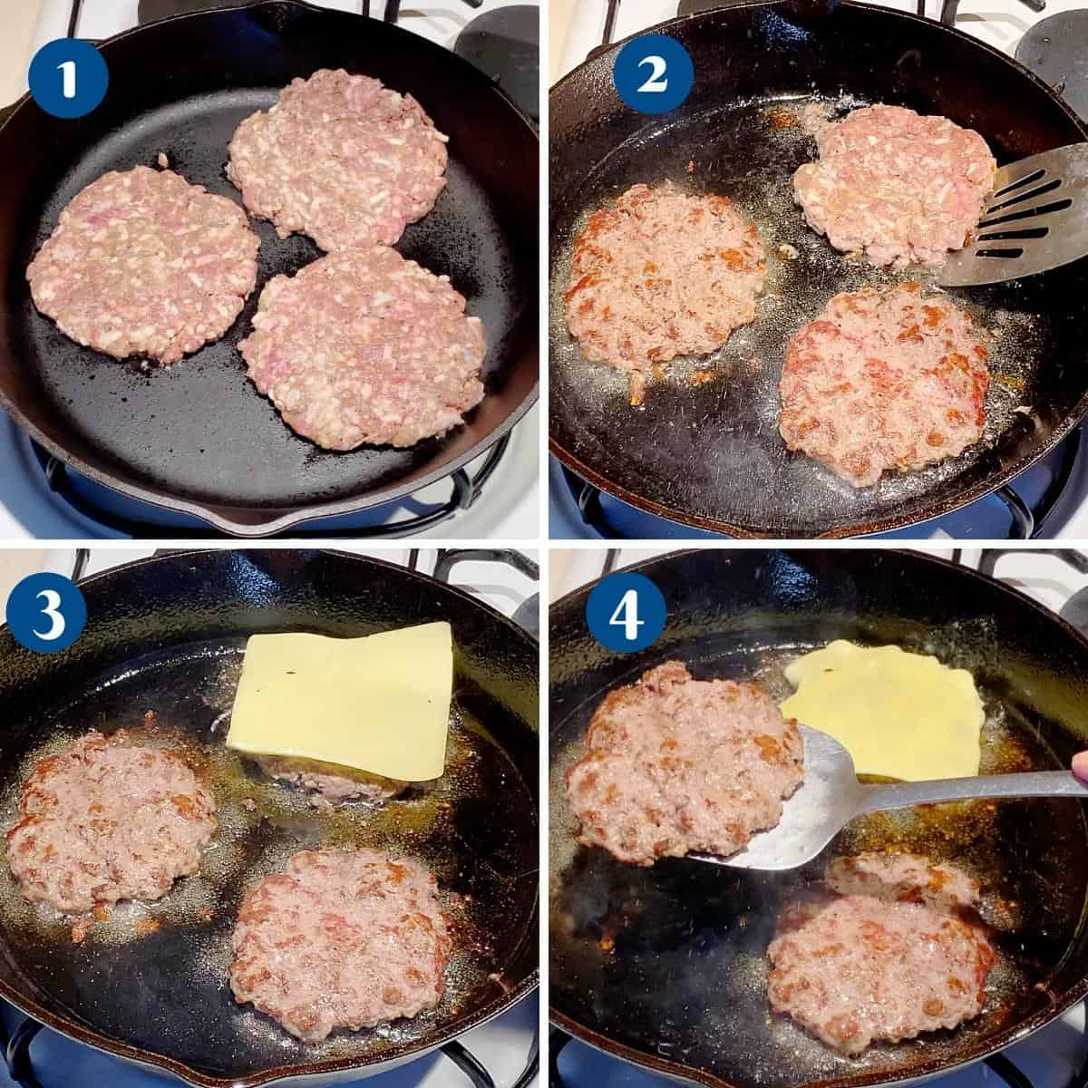 Progress pictures cooking beef burgers on a cast iron pan.