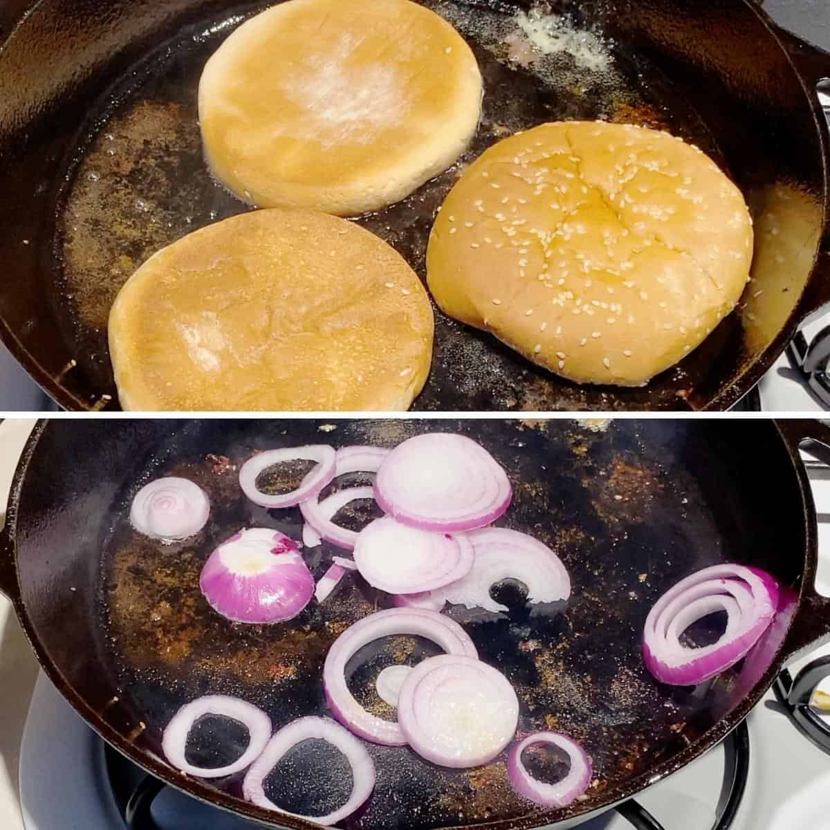 Progress pictures collage toasting the burger buns and grilling onions.