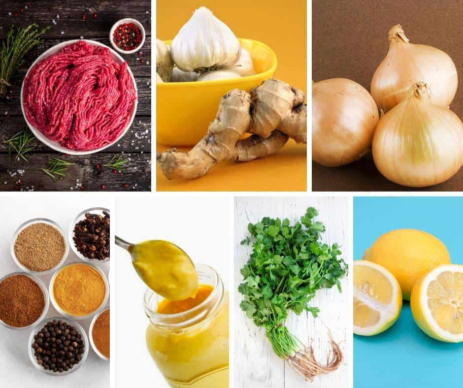 A collage of the ingredients for making a hamburger.