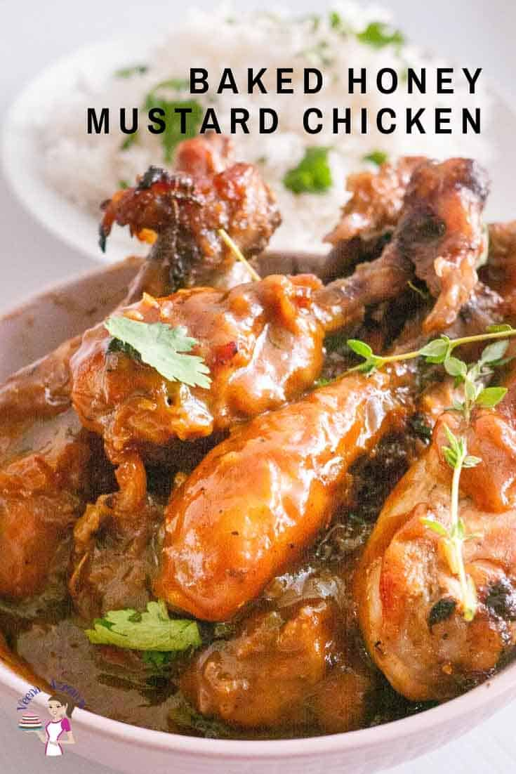 This honey mustard chicken made is the perfect balance of sweet and tart. Chicken legs marinated with a classic combination of creamy Dijon mustard, sweet honey, lemon juice then baked until golden and delicious. Thick pan juices make a delicious gravy over steamed rice or buttered noodles. The best part it's simple, easy and quick to make. #honey #mustard #chicken #honeymustardchicken #chickenrecipes #bakedchicken via @Veenaazmanov