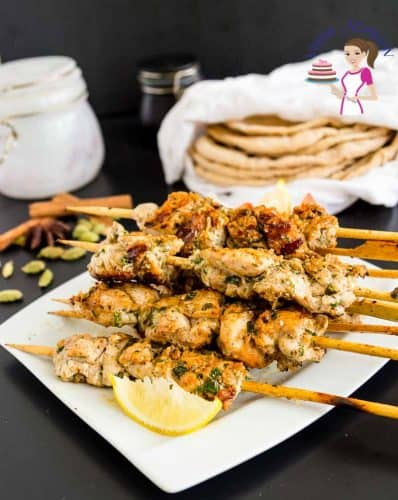 A Pinterest optimized image for Chicken Malai Kebabs aka Creamy Chicken Kebabs known in most Indian restaurants as Murg Malai Kebabs
