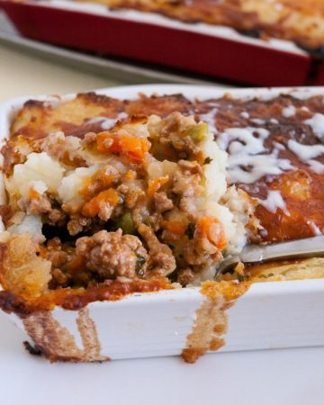 A Shepard's pie in a casserole dish.