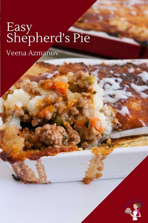 A close up of a a Shepard's pie in a casserole dish.