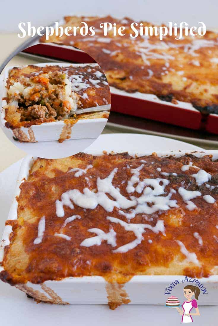 A casserole with meat sauce topped with mashed potato is what this Shepherds Pie is all about.
