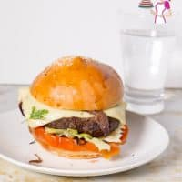 Homemade Burgers plated using ground turkey with kebab spices