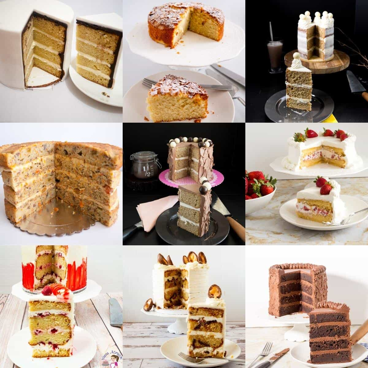 Collage of cut cakees showing different falvors.