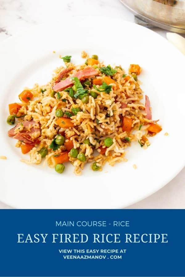 Pinterest image for Rice Asian Fried.