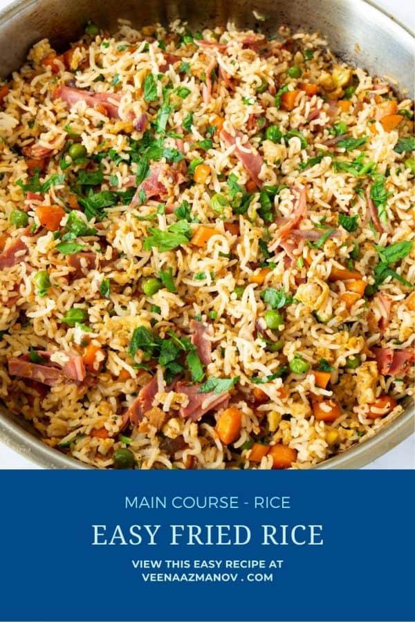 Pinterest image for Asian Rice Fried.