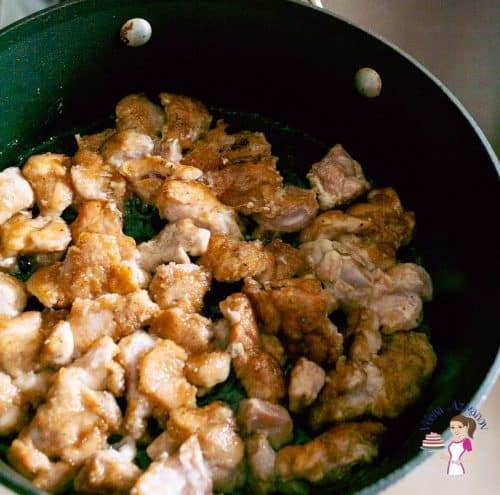 Cook the chicken in the saute pan