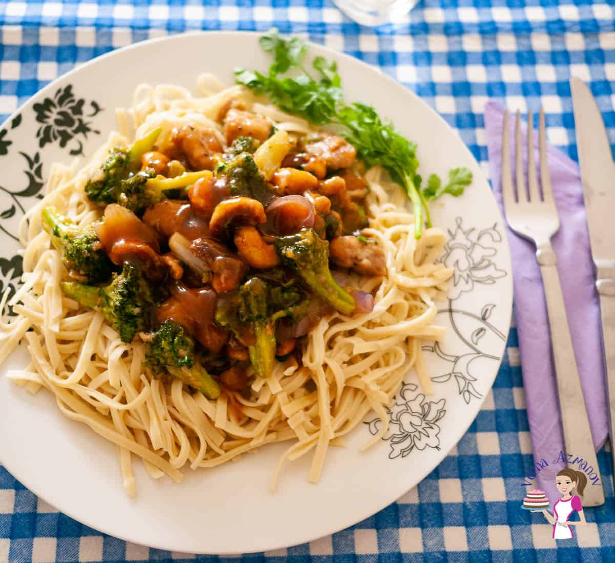 A plate with stir fry and noodles