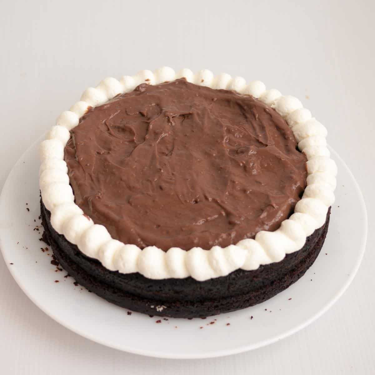 A chocolate cake filled with chocolate mousse.