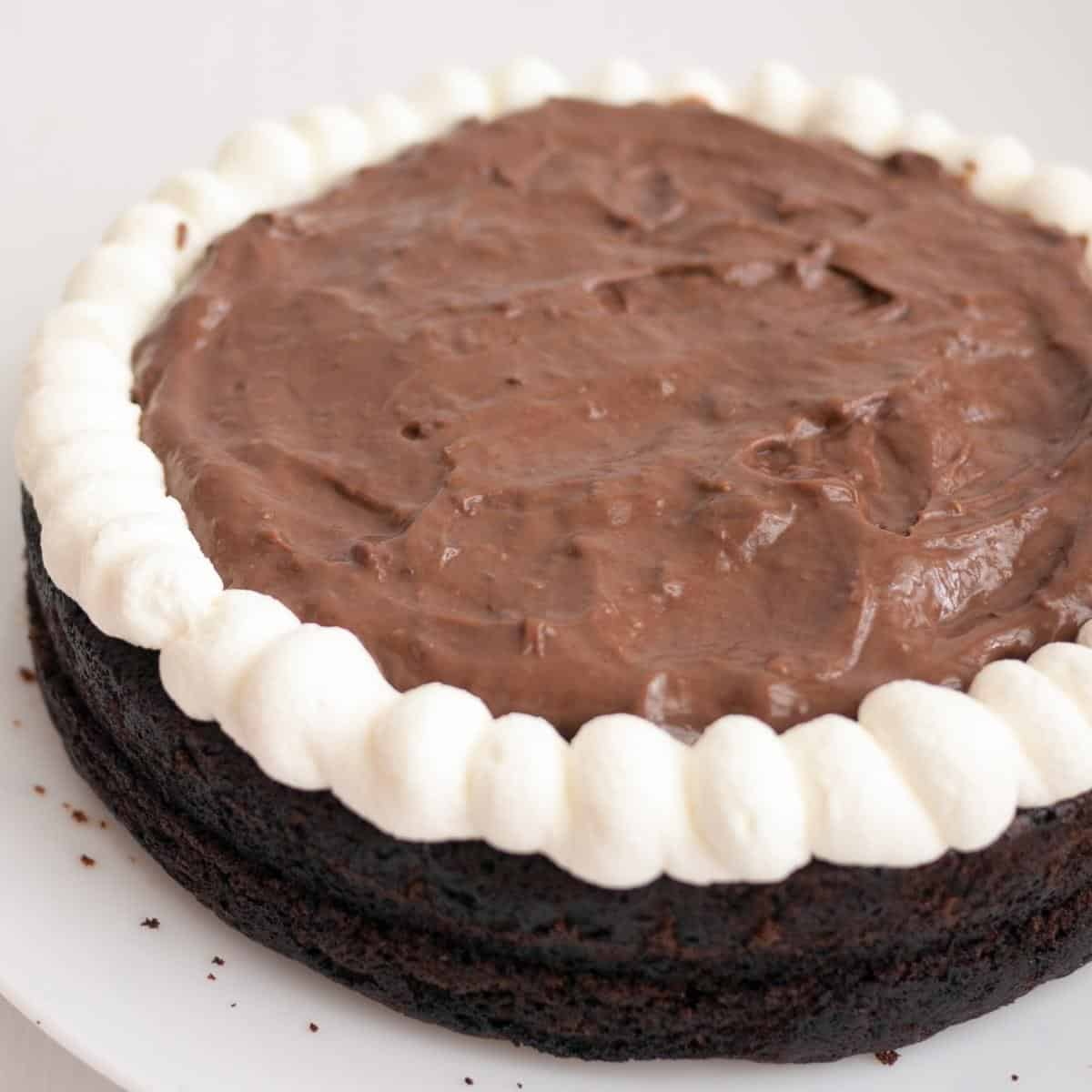 A chocolate layer filled with chocolate mousse.