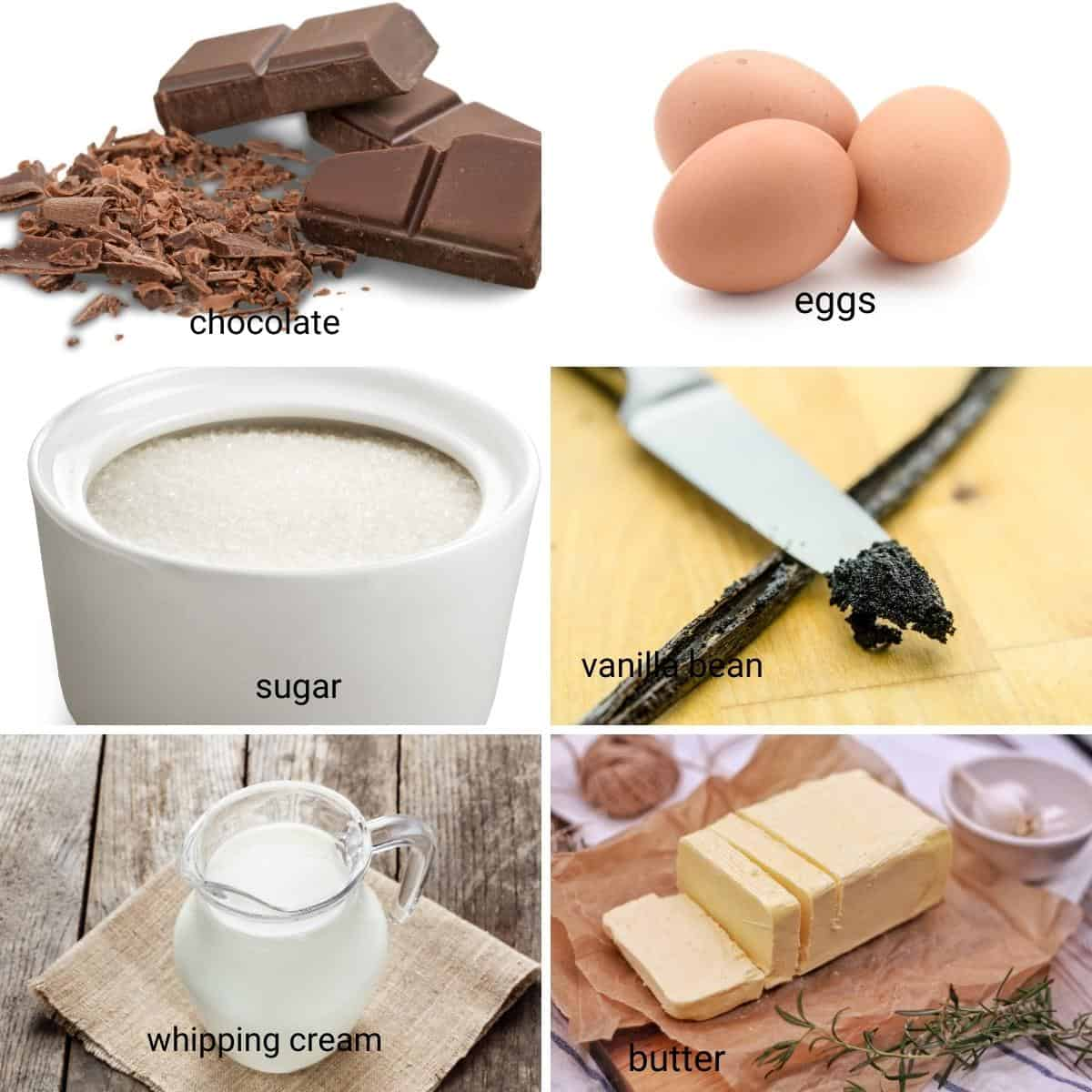 Ingredients shot collage for chocolate mousse.