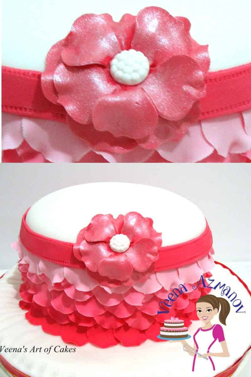 A fondant ombre' rose petal cake is a perfect cake for a lady no matter what her age. Weather you are 5 or 50 every woman loves a rose petals on her dress. These rose petals give a frill effect to that of a woman's skirt. A simple and easy technique but worth the extra effort.