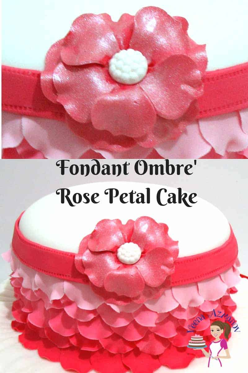 A fondant ombre rose petal cake is a perfect cake for a lady no matter what her age. Weather you are 5 or 50 every woman loves a rose petals on her dress. These rose petals give a frill effect to that of a woman's skirt. A simple and easy technique but worth the extra effort.
