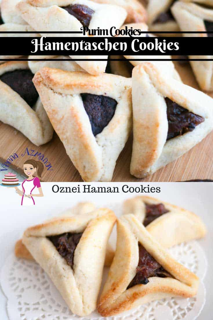 Pinterest Optimized Image for Purim Cookies made during the Jewish Purim Festival. Also called Hamentaschen or Oznei Haman Cookies