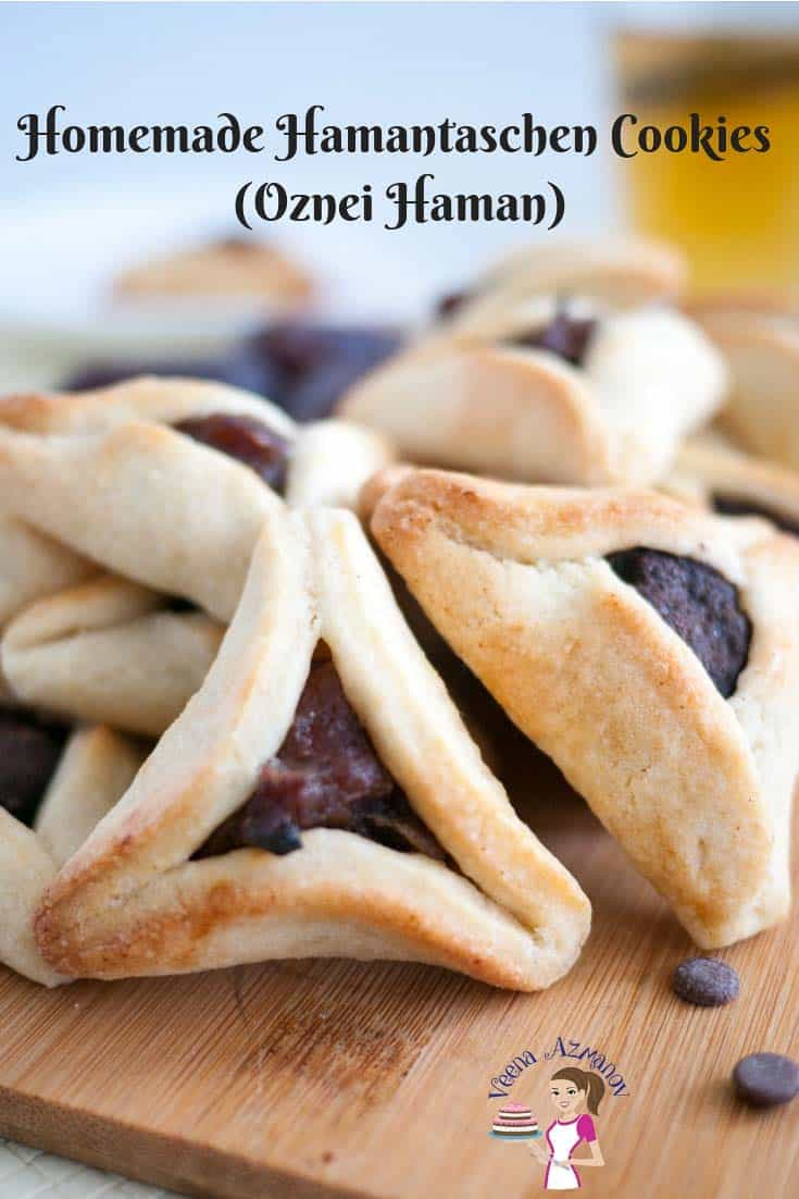 A collection of Hamantaschen cookies filled with traditional Poppy seeds or Prunes made during Purim
